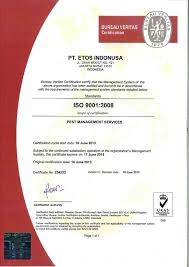 bureau veritas hr certificate of quality management system iso 9001 2008 etos indonusa