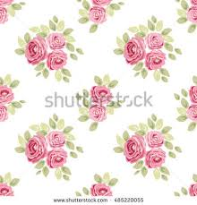 cute seamless shabby chic pattern roses stock vector 485220055