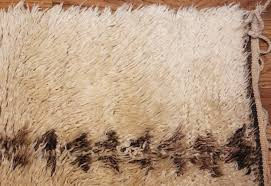 Corner Runner Rug Ivory Shag Vintage Beni Ourain Moroccan Runner Rug 49450 Nazmiyal