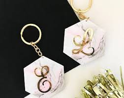 personalized keychain party favors marble keychain etsy