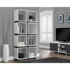 monarch specialties white and grey open bookcase i 7076 the home