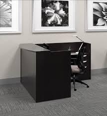 L Reception Desk To Go L Shaped Espresso Reception Desk With Pedestal