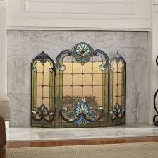 stained glass fireplace screen mission stained glass fireplace