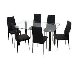black glass kitchen table new glass dining kitchen table set faux leather 4 6 chairs furniture