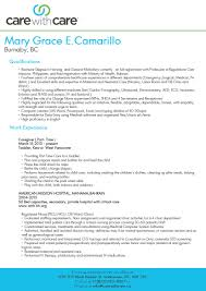 Child Care Resume Examples by 25 Professional Caregiver Resume Samples Vinodomia
