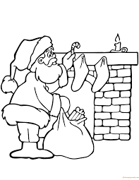santa putting gifts coloring page free coloring pages online