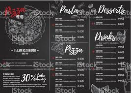hand drawn vector illustration italian menu pasta and pizza
