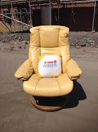 yellow leather ekornes stressless recliner chair aherns furniture