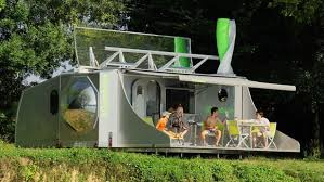 off grid living ideas collapsible rotating caravan harnesses solar and wind for efficient