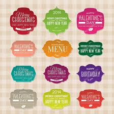 vector set of vintage paper labels for christmas birthday