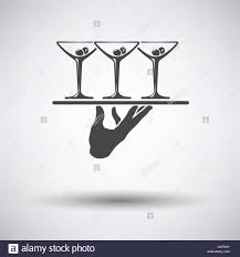 martini vector waiter hand holding tray with martini glasses icon on gray