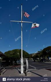 Flags And Flagpoles Us And California State Flags Wave From A Ship Mast Styled Flag