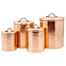 copper canisters kitchen shop for hammered copper 4 canister set get free delivery at