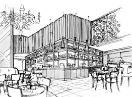 a restaurant sketch and design in dubai radek u0027s sketches