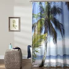 Shower Curtain With Tree Design Beach Palm Tree Shower Curtain
