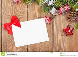 christmas tree branch and blank greeting card stock photo image