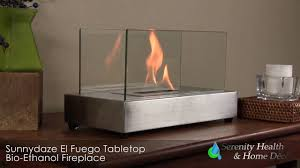 sunnydaze el fuego ventless tabletop bio ethanol fireplace yl 048