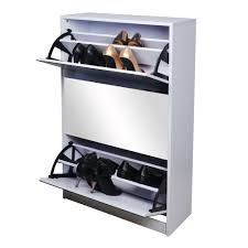 White Shoe Cabinet With Doors by Amazon Com Gls White Wooden Mirrored Shoe Cabinet Storage With 3