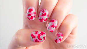 pink camo nail design tutorial for breast cancer awareness