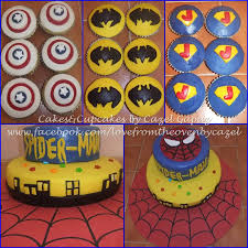 superheroes cupcake and cakes supermanbatmancaptain america and