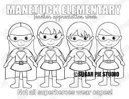 superhero teacher appreciation coloring page personalized