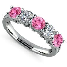 pink wedding rings five pink sapphire and diamond wedding ring in platinum 1 1 2 ctw