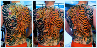 collection of 25 tiger and cherry blossoms tattoos on back
