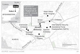 kabul map at least 90 killed after bomb rips through central kabul abc