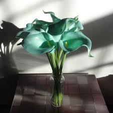 teal flowers calla lilies wedding bouquet 5 weddbook