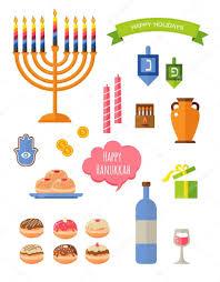 various symbols and items of hanukkah celebration flat icons set