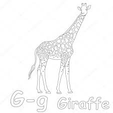 g for giraffe coloring page u2014 stock photo art1o1 44628287