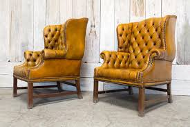 pair of vintage tufted wingback chair tan bd antiques