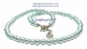 earrings necklace bracelet images Light blue pearl necklace bracelet earrings set jpg