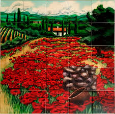 custom tiles and tile mural pictures murals tuscan poppies ceramic tile kitchen backsplash