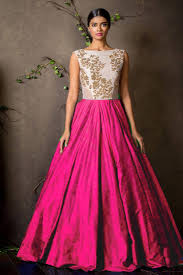 party wear gowns buy pink silk embroidered semi stitiched party wear gowns online