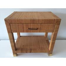 Rattan Side Table Vintage Bielecky Brothers Rattan Side Table Chairish