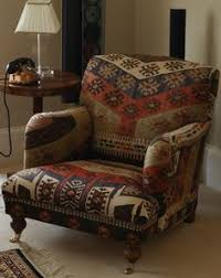 Armchair Upholstered Handwoven Wool Kilim Wingback Armchair Sofa Chair Patchwork