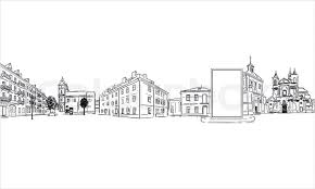 city buildings and modern billboard outline sketch stock vector