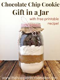 easy chocolate chip cookie mix in a jar gift and free printable