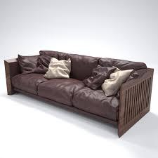 Wooden Sofa 3d Model Riva Soft Wood Sofa Cgtrader