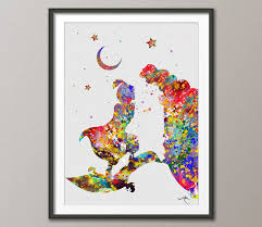 aladdin and jasmine love disney princess watercolor art print wall