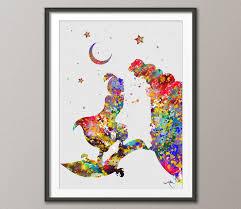 home decor wall posters aladdin and jasmine love disney princess watercolor art print wall