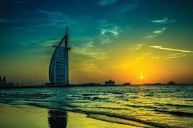 amazing sunset view of the burj al arab dubai