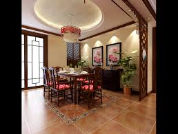 modern chinese style dining room fully furnished and decorated 3d