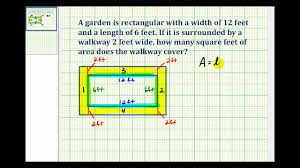 calculate square footage of house ex determine the area of a walkway around a rectangle youtube