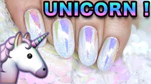 holo glass unicorn iridescent glitter nail art nails youtube