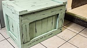 Build A Simple Toy Chest by Make A Chest Out Of Pallets With Distressed Finish Youtube