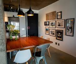 The Dining Room Concrete Cement And Creative Lighting Space Savvy Apartment In