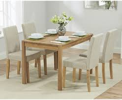 oxford 120cm solid oak dining table with mia fabric chairs the