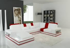 White Sectional Sofa With Chaise Divani Casa 5075 Modern White And Red Leather Sectional Sofa